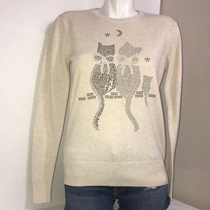 Cream Bedazzled Gem Moon KittenShaped Knit Sweater